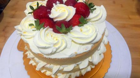 想吃蛋糕,不会抹面,教你在家做草莓裸蛋糕,不抹面,好看又好吃