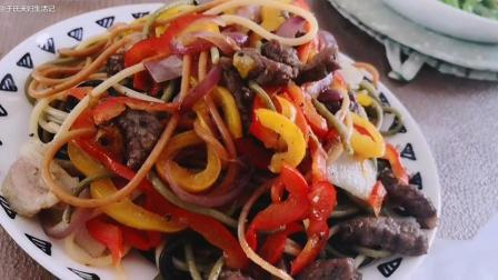 今天的午餐, 中西合璧, 自烤榴莲披萨, 黑胡椒牛排意面