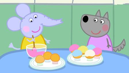 小猪佩奇 大象艾米莉和小狼温蒂正在装饰纸杯蛋糕 简笔画
