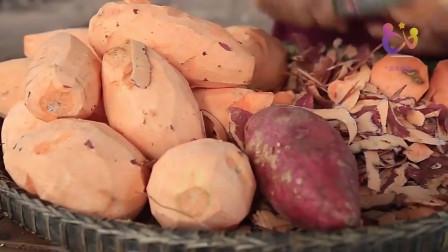 南亚西施在自家小院里蒸红薯,看看西施的做法有啥不一样