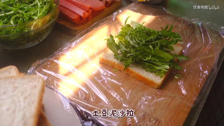 饱腹感超强的土豆沙拉三明治,好看又好吃,野餐桌上的明星食品