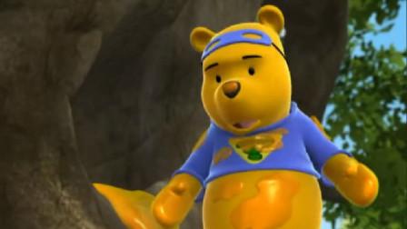 小熊维尼:跳跳虎跳得高,可是够不到风筝,累得躺地上