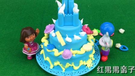 爱探险的朵拉为小猴子布茨制作生日蛋糕