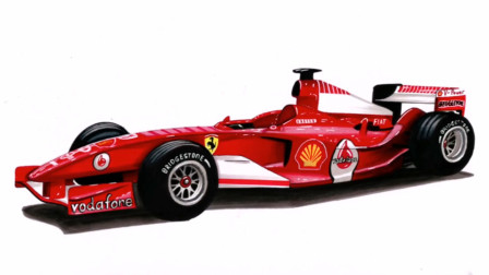 小伙手绘法拉利一级方程式赛车的逼真图