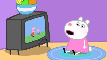 小猪佩奇 小羊苏西很喜欢看电视 简笔画