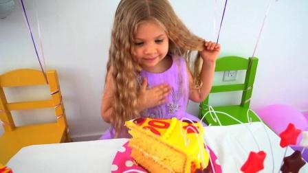 小朋友喜欢吃生日蛋糕,穿着美丽的公主裙
