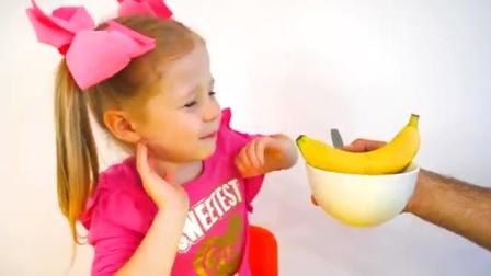 宝宝学英文:有棒棒糖香蕉和披萨