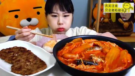 韩国吃播大胃王美女挑战5人份炖泡菜锅和韩式烤牛肉饼,这么多吃的完吗