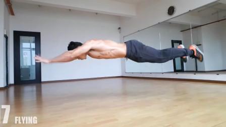 """肌肉版""""周杰伦""""演示20种难度由低到高的俯卧撑,你会几种?"""