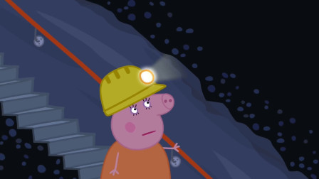 小猪佩奇 猪妈妈走下去山洞底部的楼梯 简笔画