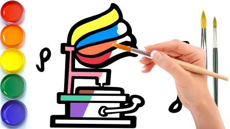 波比简笔画:教你画留声机,认识颜色学习英语,儿童轻松学画画