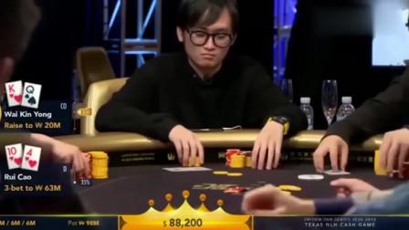 德州扑克:诈唬拿下奖金600万的底池,还有什么事比这个更爽的?
