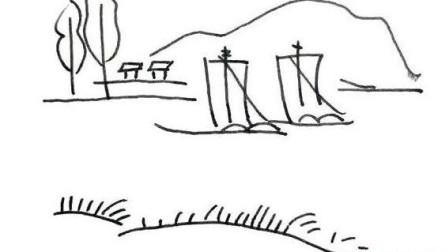 小溪帆船风景怎么画简单好看