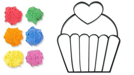 太空沙制作杯子蛋糕动力沙玩具认颜色