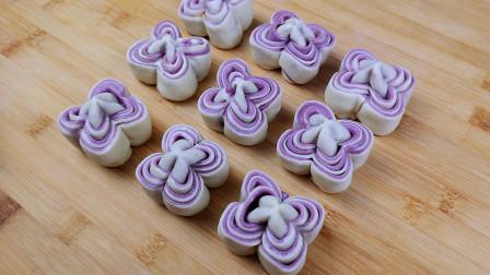 花样面点,1碗紫薯1碗面粉,教你做特色花卷,出锅后都抢着吃