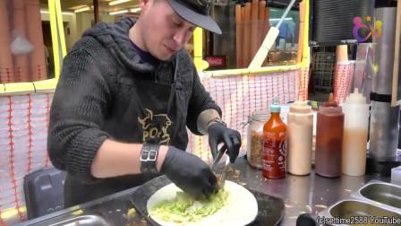 实拍伦敦街头特色卤肉卷,看上去味道还不错