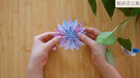 特别简单折纸的手工花,这样一搭配还挺好看的