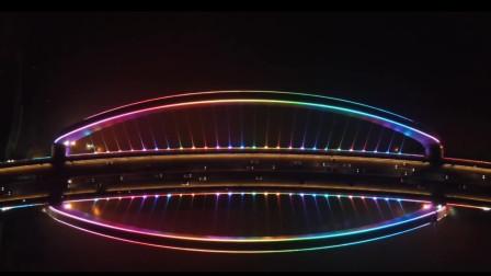 360航拍南宁大桥的夜景,只有夜晚才能观其美