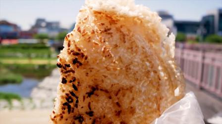 韩国街头美食,现场制作的香脆美味锅巴