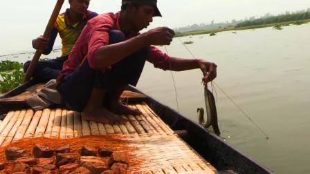 农村小哥捕鱼,一条几百米的鱼线抛河里,第2天看看收获了多少?