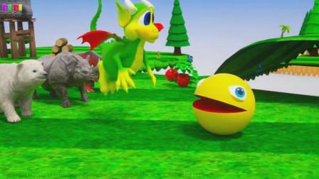 吃豆人遇到大麻烦,小恐龙出手相助!吃豆人游戏