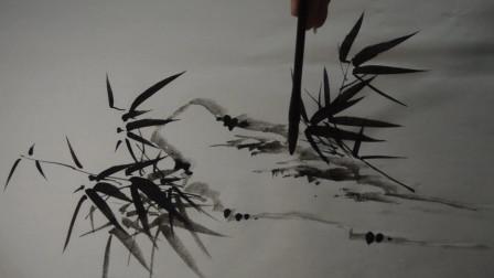 国画竹子基本画法:板桥先生竹子和石头怎么组合?非常适合初学者