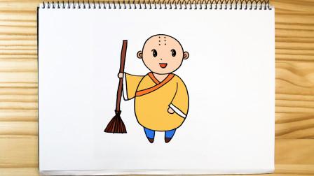 亲子儿童简笔画 用数字18就能画卡通和尚,快来试试吧!