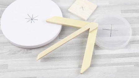自制圆心定位尺 手工DIY木质中心划线器中心规