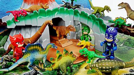 睡衣小英雄创意变身玩具侏罗纪公园恐龙世界操作台玩具演示故事