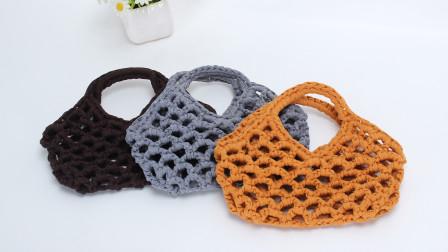 娟娟编织401集布条线镂空网格编织袋编织教程毛线编织教程钩法