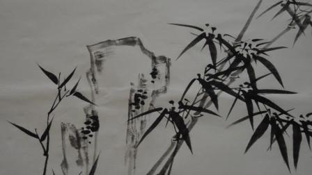 竹子和石头的组合该怎么画?邵老师来给你做示范,初学者一定要看