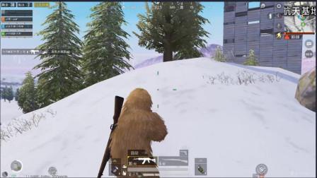 和平精英 雪地地图穿上枯草吉利服 敌人都把我当成怪物
