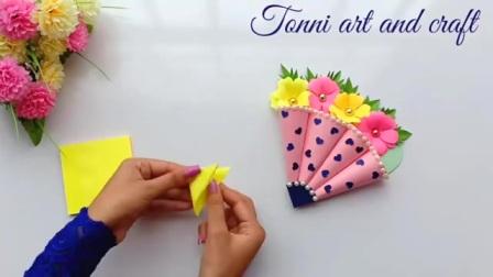 做法简单又漂亮的生日贺卡,外形是一把伞还能用来装饰,手工diy