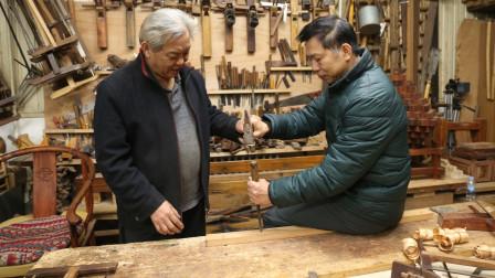 台湾同胞来我工坊学传统木工悟性不错