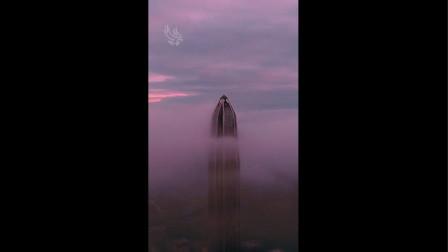 航拍清晨的深圳平安金融中心 仙境一般 诗画意境