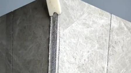 瓷砖阳角阴角怎么做美缝,看看打胶和清理的细节,一学就会!