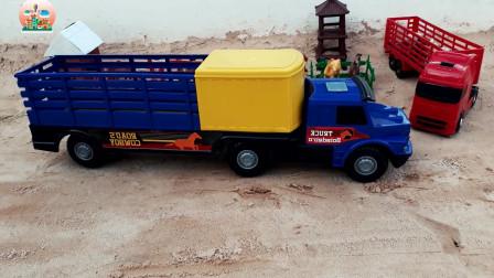 儿童运输车玩具,动物运输大卡车拉来好多牲口玩具