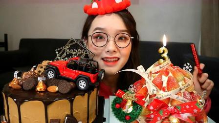 阿尤吃播:过生日必须配巧克力蛋糕,再加草莓蛋糕,看她吃相可爱