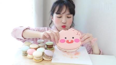 吃播:韩国小姐姐吃马卡龙蛋糕,好美味的蛋糕看饿了!