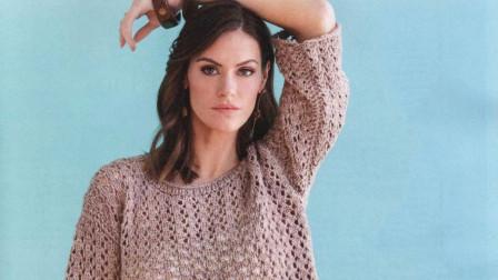 喜欢这款七分袖套衫的花样吗?织法简单,简洁大方编织款式