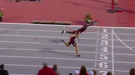 400米栏选手鱼跃冲线夺冠 神奇一幕震惊全美