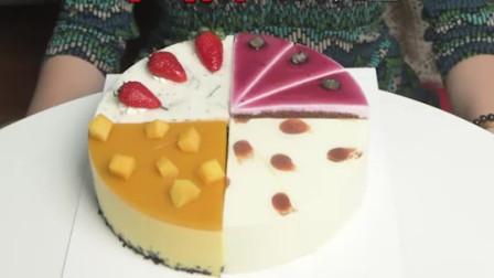 美食吃播:吃货小姐姐吃慕斯蛋糕,看着好解压