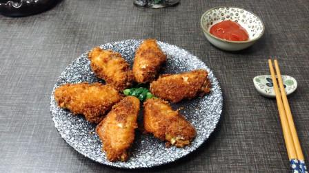 6个鸡翅,一份面包糠,这种炸鸡翅能把小孩馋哭,外酥里嫩超过瘾
