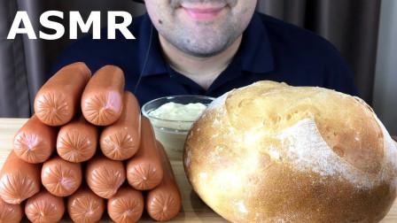 """国外吃货大叔,吃""""俄罗斯香肠+面包"""",听听这咀嚼音,吃得真香"""