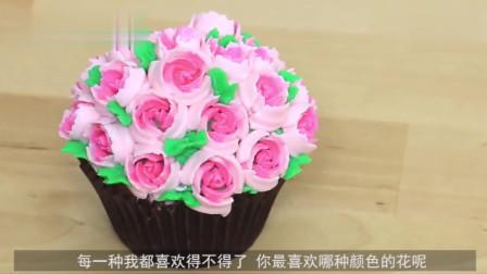 纸杯蛋糕裱花教程, 每一朵花都很有创意充满春天的色彩