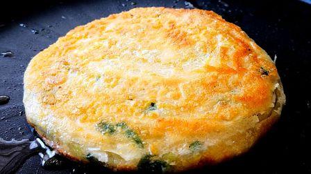 鸡蛋葱花饼,酥脆掉渣,葱香四溢,比葱油饼还好吃