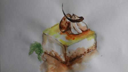 夏日美食绘:小姐姐教你来画芒果慕斯蛋糕,一起来画吧