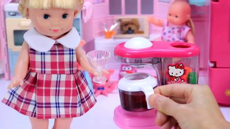 亲子玩具过家家 公主娃娃胡萝卜香蕉葡萄做果汁饮料给小宝宝