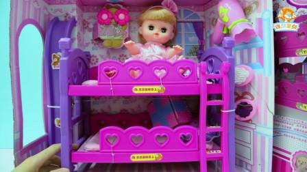 美琪儿娃娃双层床滑梯玩具拆箱