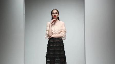2019夏装新款小香风优雅复古蕾丝荷叶衬衫高腰松紧蛋糕半裙套装